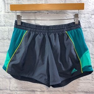 Adidas Workout Shorts • Sz S Gray/Blue/Teal